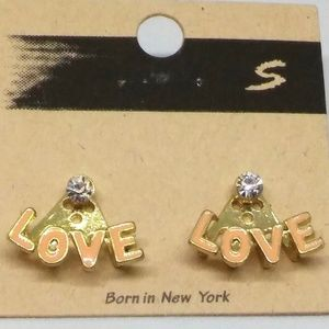"Stud ""Love"" Earrings Tan Enamel Jewelry 1091"